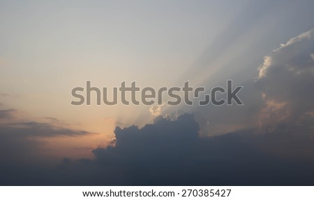Background Blue sky with clouds and sun reflection - stock photo