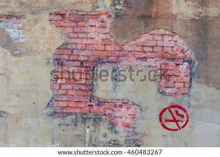 Background brickwork symbol smoking. - stock photo