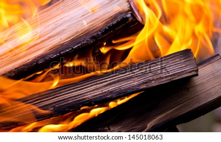 Background, bright flames and logs - stock photo
