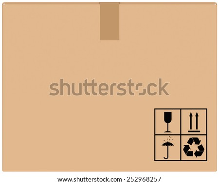 background brown cardboard boxes with special characters - stock photo