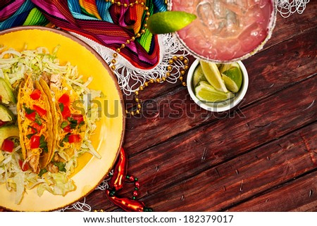 Background: Cinco De Mayo Celebration with Tacos and Margarita - stock photo