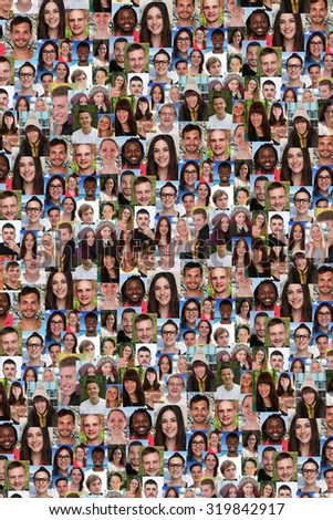 Background collage group of multiracial young people social media refugees immigration diversity - stock photo
