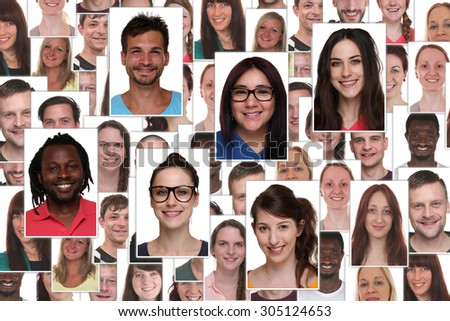 Background collage group portrait of multiracial young smile smiling people - stock photo