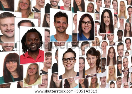Background collage group portrait of young smile smiling people - stock photo