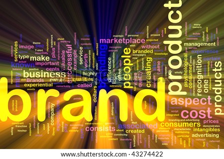 Background concept illustration of brand product marketing glowing light effect - stock photo