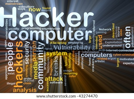 Background concept illustration of computer hacker attack glowing light effect - stock photo