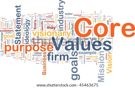 Background concept word cloud illustration of business core values - stock photo