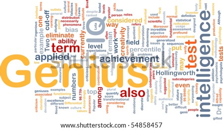 Background concept word cloud illustration of genius intelligence IQ - stock photo