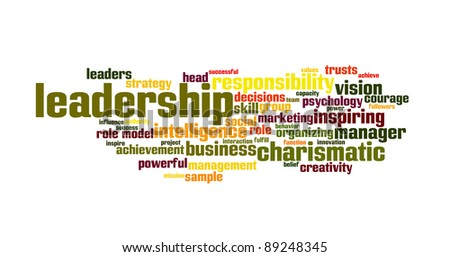 Background concept word cloud illustration of leadership - stock photo