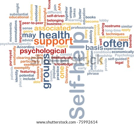 Background concept word cloud illustration of self-help - stock photo