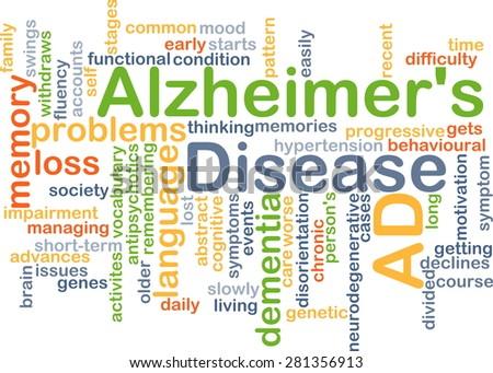 Background concept wordcloud illustration of Alzheimerâ??s disease - stock photo