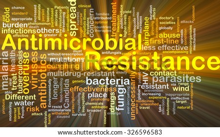 Background concept wordcloud illustration of antimicrobial resistance glowing light - stock photo