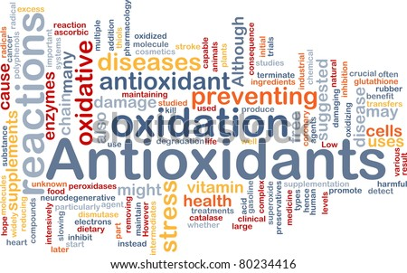 Background concept wordcloud illustration of antioxidants health nutrition - stock photo