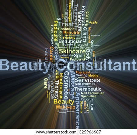 Background concept wordcloud illustration of beauty consultant glowing light - stock photo