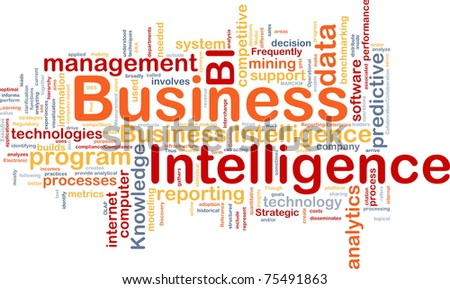 Background concept wordcloud illustration of business intelligence - stock photo
