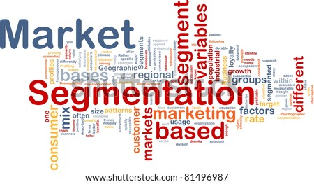 Background concept wordcloud illustration of business market segmentation - stock photo