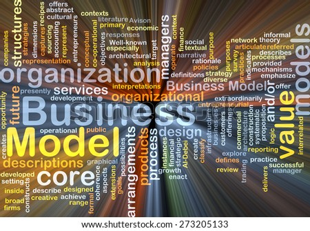 Background concept wordcloud illustration of business model glowing light - stock photo