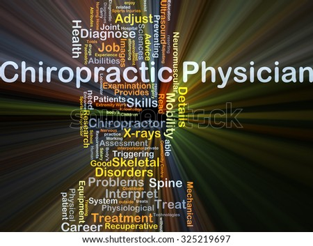 Background concept wordcloud illustration of chiropractic physician glowing light - stock photo