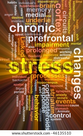 Background concept wordcloud illustration of chronic mental stress glowing light - stock photo