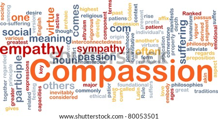Background concept wordcloud illustration of compassion - stock photo