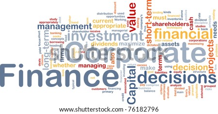 Background concept wordcloud illustration of  corporate finance - stock photo