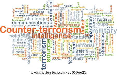 Background concept wordcloud illustration of counter-terrorism - stock photo