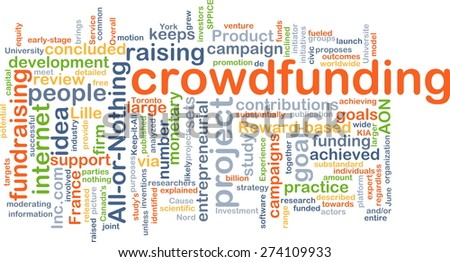 Background concept wordcloud illustration of crowd funding - stock photo