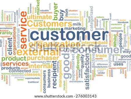 Background concept wordcloud illustration of customer - stock photo