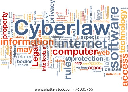 Background concept wordcloud illustration of cyberlaw - stock photo
