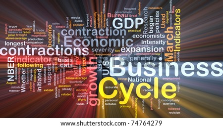 Background concept wordcloud illustration of economic business cycle glowing light - stock photo