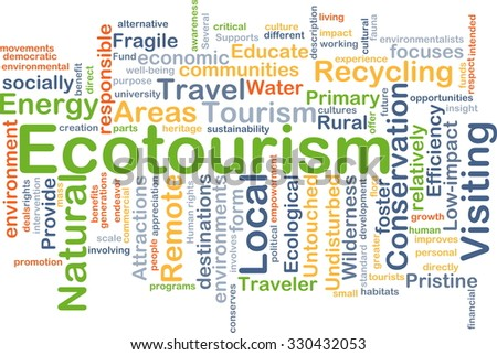 Background concept wordcloud illustration of ecotourism - stock photo