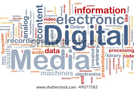 Background concept wordcloud illustration of electronic digital media - stock photo