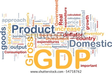 Background concept wordcloud illustration of GDP domestic economy - stock photo
