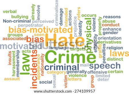 Background concept wordcloud illustration of hate crime - stock photo