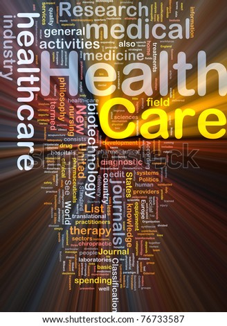 Background concept wordcloud illustration of health care glowing light - stock photo