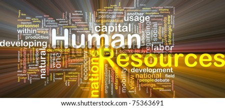 Background concept wordcloud illustration of human resources glowing light - stock photo