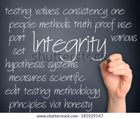 Background concept wordcloud illustration of integrity handwritten on dark background - stock photo