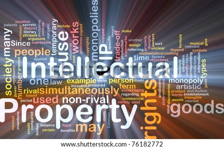 Background concept wordcloud illustration of intellectual property glowing light - stock photo