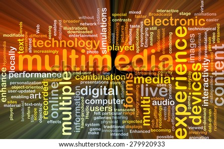 Background concept wordcloud illustration of multimedia glowing light - stock photo