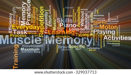 Background concept wordcloud illustration of muscle memory glowing light - stock photo