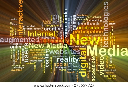 Background concept wordcloud illustration of new media glowing light - stock photo