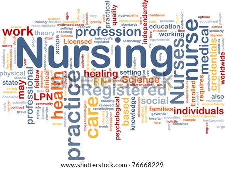 Background concept wordcloud illustration of nursing - stock photo