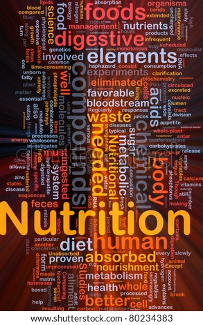 Background concept wordcloud illustration of nutrition food health glowing light - stock photo
