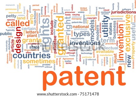 Background concept wordcloud illustration of patent - stock photo