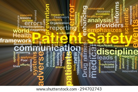 Background concept wordcloud illustration of patient safety glowing light - stock photo