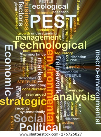 Background concept wordcloud illustration of political economic social technological PEST glowing light - stock photo
