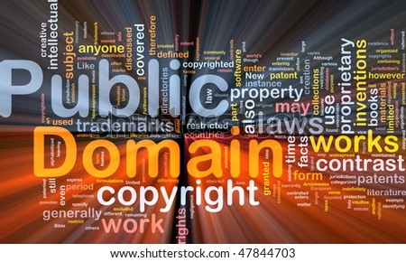 Background concept wordcloud illustration of public domain work  glowing light - stock photo