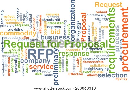 Background concept wordcloud illustration of request for proposal RFP - stock photo