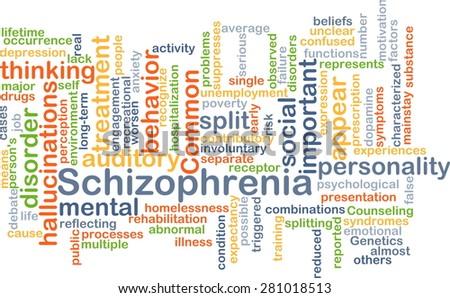 Background concept wordcloud illustration of schizophrenia - stock photo