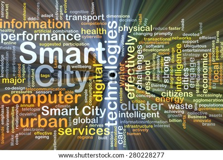 Background concept wordcloud illustration of smart city glowing light - stock photo